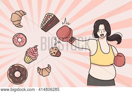 Dieting, Weight Loss Healthy Lifestyle Concept. Fat Girl In Fitness Costume Cartoon Character Standi