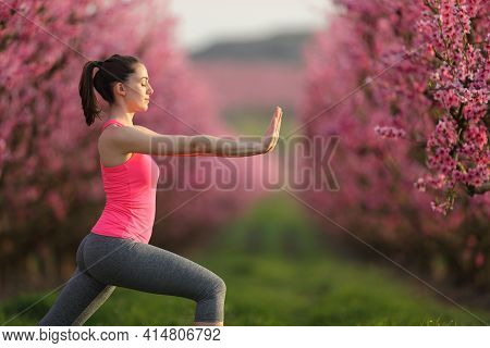 Side View Portrait Of A Woman Practicing Tai Chi Exercise In A Pink Flowered Field At Sunset