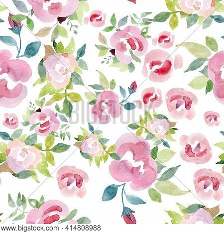 Summer Blossoming Delicate Roses On Blooming Flowers Festive Background, Pastel And Soft Bouquet Flo