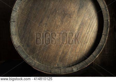 Background Of Old Worn Oak Wooden Barrel Close Up
