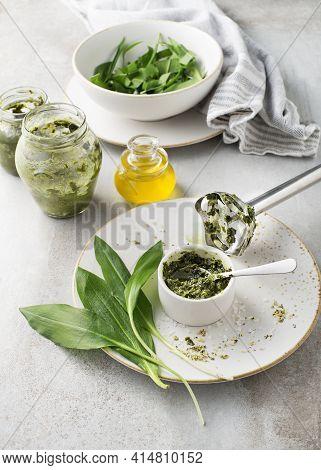 Making Wild Garlic Pesto. Blitz The Wild Garlic Leaves, Parmesan, Garlic, Lemon And Pine Nuts To A R