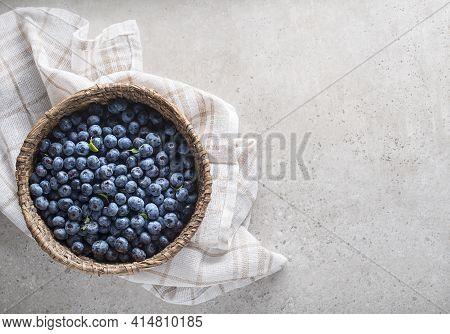 Fresh Picked Of Blueberries. Berries Overhead Closeup