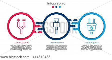 Set Line Electric Cable, Usb Cable Cord And Electric Plug. Business Infographic Template. Vector
