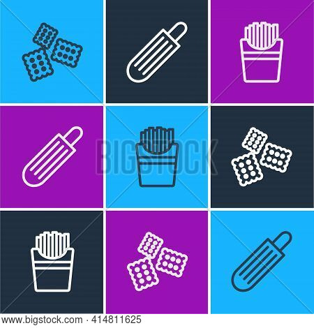 Set Line Cracker Biscuit, Potatoes French Fries In Box And French Hot Dog Icon. Vector