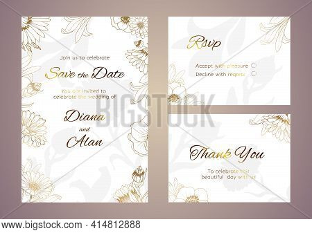 Plants Line Gold. Luxurious Golden Nature. Flowers In A Thin Line. Luxurious Wedding Invitation. Lig