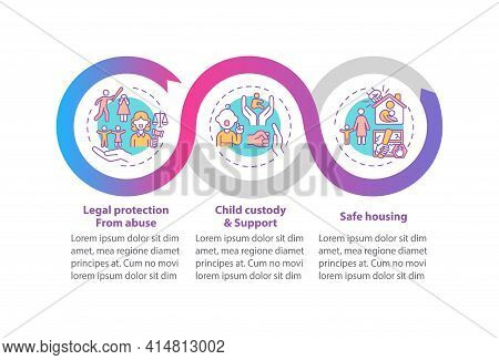 Domestic Violence Survivors Support Vector Infographic Template. Abuse Protect Presentation Design E