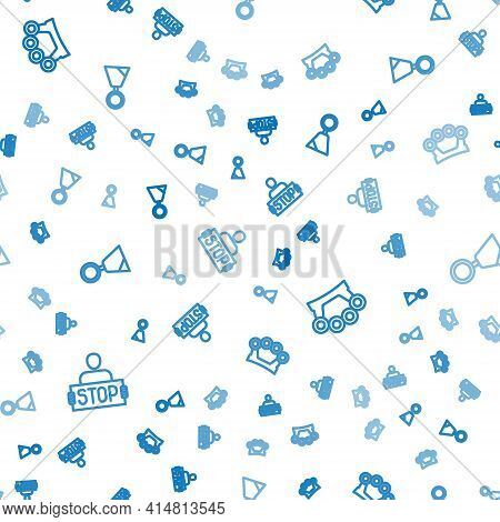 Set Line Stop War, Brass Knuckles And Military Reward Medal On Seamless Pattern. Vector