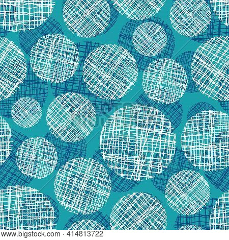 Irregular Weave Yarn Vector Circle Seamless Pattern Background. Backdrop With Small And Large Circul