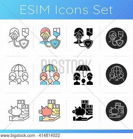 Insurance And Protection Icons Set. Life Policy. Critical Illness Expenses. Financially Family Prote