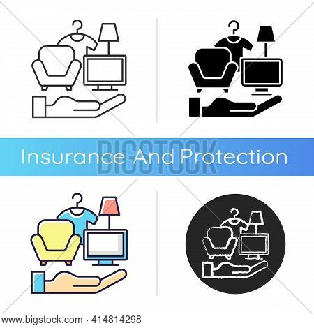 Possessions Insurance Icon. Contents Insurance Policy. Valuable Personal Belonging Protection. Perso