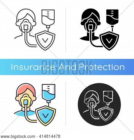 Critical Illness Insurance Icon. Covering Health Conditions. Medical Emergencies Costs. Heart Attack
