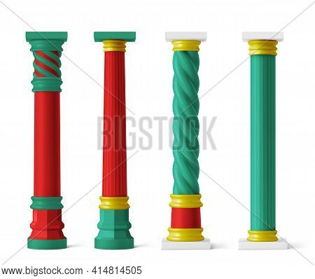 Chinese Red And Green Pillars With Gold Decor For Asian Temple, Pagoda, Gazebo, Arch And Gate. Vecto