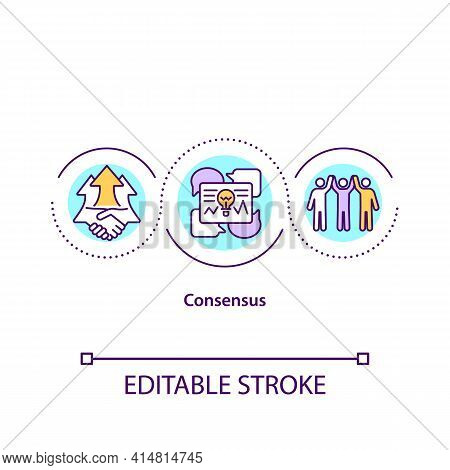 Consensus Concept Icon. Agreement In Work. Effective Teamwork. Productivity In Job. Problem Solving
