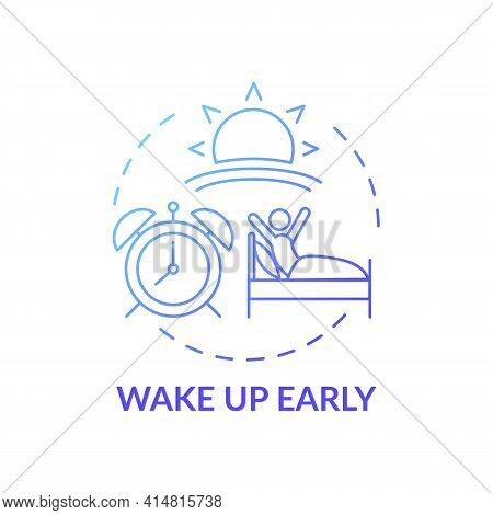 Wake Up Early Blue Gradient Concept Icon. Daily Routine. Person Awake In Morning. Self Development A