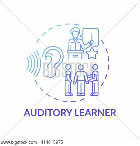 Auditory Learner Blue Gradient Concept Icon. Learning By Sound. Hearing Information. Self Developmen