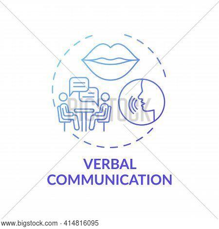 Verbal Communication Dark Blue Gradient Concept Icon. Conversational Skills. Form Relationships. Sel