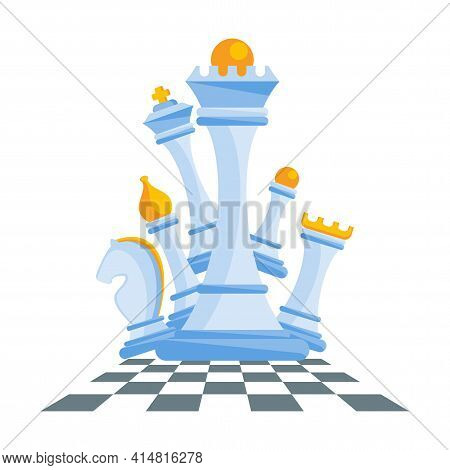 Set Of Figures For Chess. King, Queen And Rook, Bishops, Knights