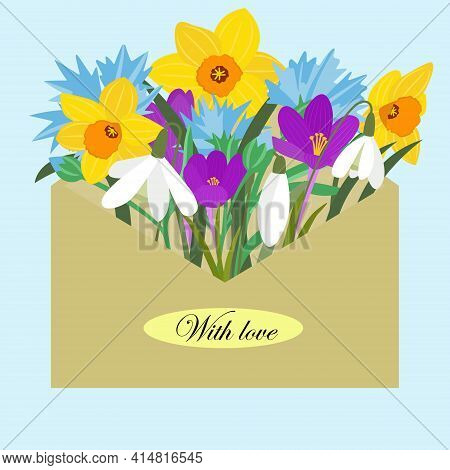 Envelope With Spring Flowers. Flowers Daffodils, Snowdrops, Cornflowers, Crocs In A Mail Envelope. P
