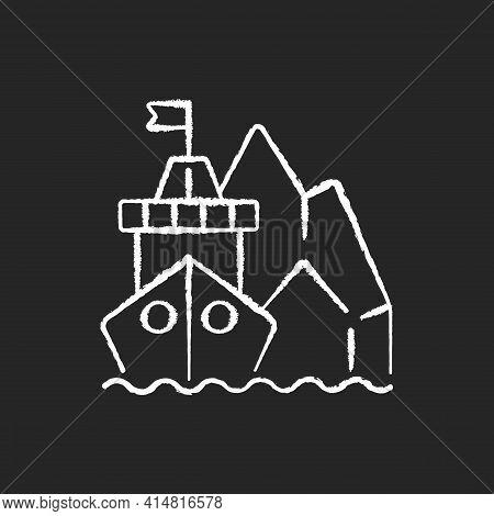Arctic Exploration Chalk White Icon On Black Background. Polar Regions Exploration. Undisturbed Mari