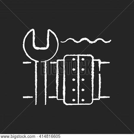 Underwater Pipeline Repair Chalk White Icon On Black Background. Subsea Pipeline Integrity Repairing