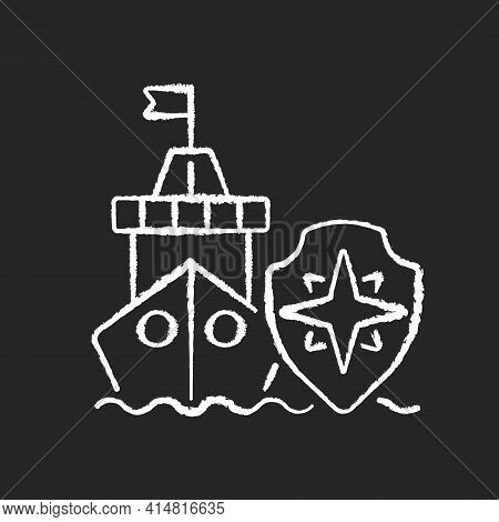 Maritime Security Chalk White Icon On Black Background. Marine Environment Protection. Preventing Ma