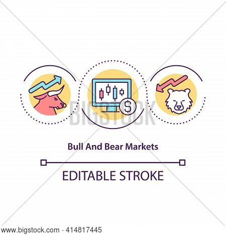 Bull And Bear Markets Concept Icon. Basic Concepts Of Stock Market Trading Situations. Trading Tutor