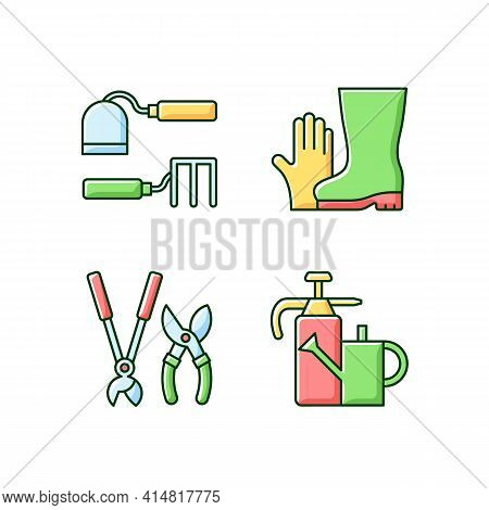 Gardening Supplies Rgb Color Icons Set. Hoe And Fork Hoes. Gloves And Boots. Clippers, Secateurs. Wa