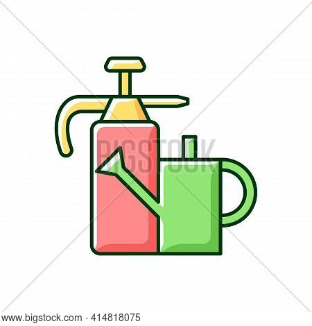 Watering Can And Hand Sprayer Rgb Color Icon. Healthy Garden Maintenance. Fertilizers, Herbicides Ap