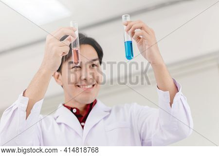 Scientist Happy To Successful Discover New Drug Formula By Choice Select Good Chemical Liquid In Med