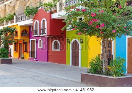 Colorful apartment building in Puerto Vallarta, Mexico.