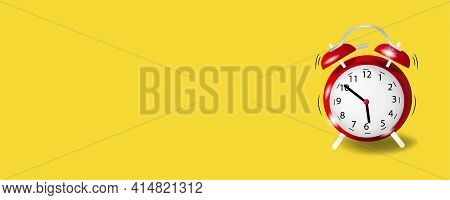 Alarm Clock On Yellow Background. Wake Up, Get Up Concept. Time Sign. 3d Vector Illustration