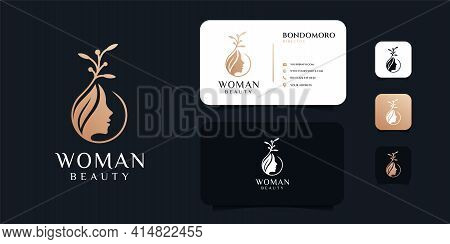 Woman Beauty Nature Logo And Business Card Design Vector Template. Logo Can Be Used For Icon, Brand,