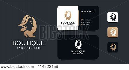 Luxury Hair Salon Woman Boutique Logo And Business Card Design Vector Template. Logo Can Be Used For
