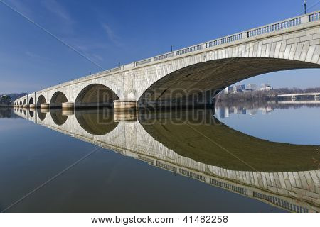 Washington DC - Memorial Bridge and mirror reflection on Potomac River