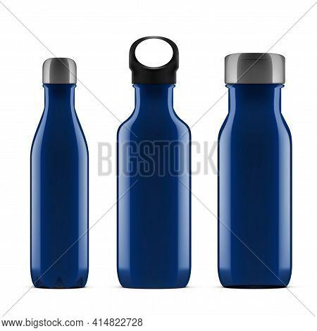3d Blue Glossy Metal Reusable Water Bottle Set