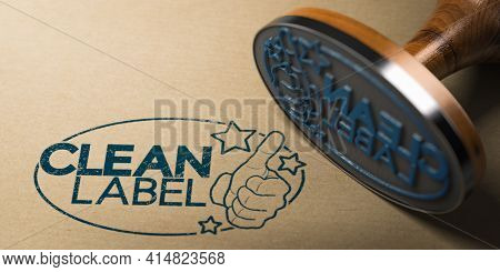 3d Illustration Of A Rubber Stamp With Clean Label Printed On A Kraft Paper.