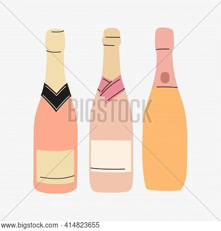 Rose Bottles Silhouettes In Different Shapes. Vector With Place For Text. Winery And Celebration Con