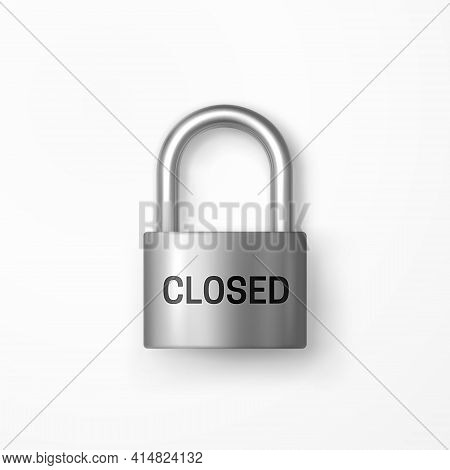 Reliable Metal Closed Padlock. Closed Caption. Isolated Object. Lock Icon. Data Protection, Secret I