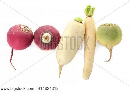 Different Ripe Turnips On White Background, Top View