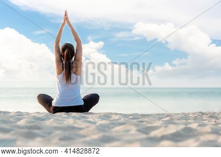 Lifestyle Athletic Woman Yoga Exercise And Pose For Healthy Life. Young Girl Or People Pose Balance