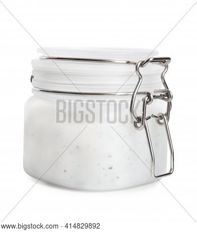 Jar Of Exfoliating Salt Scrub Isolated On White