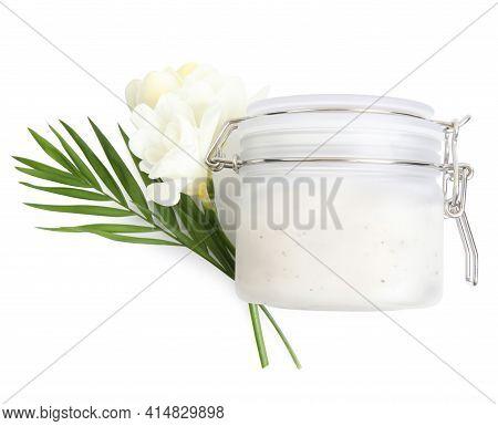 Jar Of Exfoliating Salt Scrub, Palm Leaf And Freesia Flowers On White Background, Top View