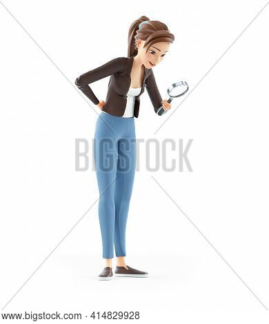 3d Cartoon Woman Looking Through Magnifying Glass, Illustration Isolated On White Background