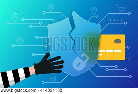 Scammer Is Stealing Personal Details To Use Credit Card Or Open A Bank Account. Vector Illustration