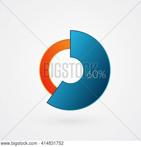 60 Percent Isolated Pie Chart. Percentage Vector, Infographic Gradient Icon. Circle Sign For Busines