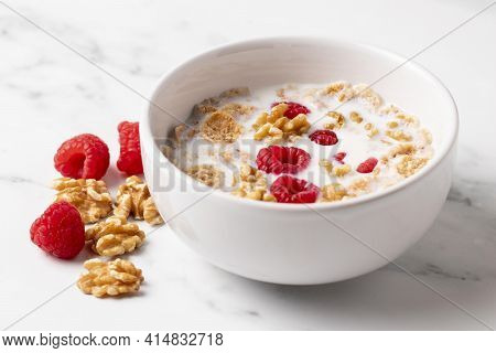 High Angle Arrangement Healthy Bowl Cereals Close Up. High Quality And Resolution Beautiful Photo Co