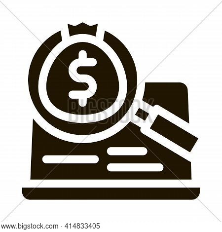 Detection Of Money In Computer Glyph Icon Vector. Detection Of Money In Computer Sign. Isolated Symb