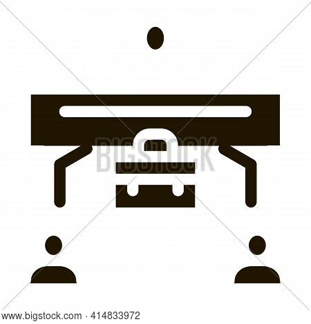 Realtor With Buyer And Seller Glyph Icon Vector. Realtor With Buyer And Seller Sign. Isolated Symbol