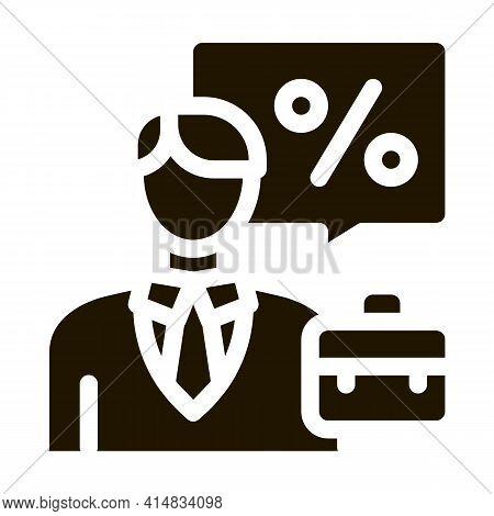 Realtor For Profit Interest Glyph Icon Vector. Realtor For Profit Interest Sign. Isolated Symbol Ill