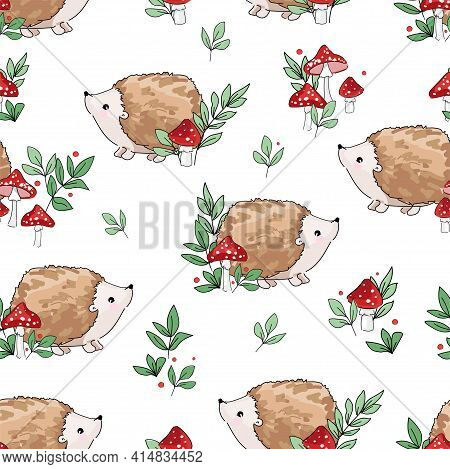 Hand Drawn Cute Baby Hedgehog And Mushrooms Forest Background Pattern Seamless. Sketch Woodland Prin